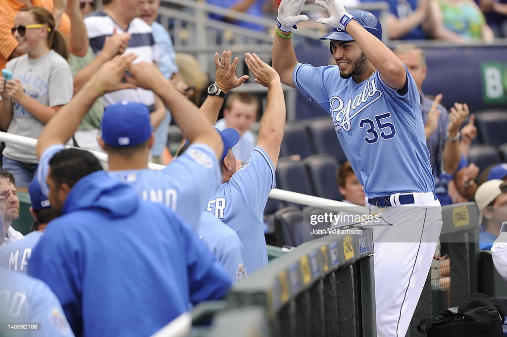 Eric Hosmer #35 of the Kansas City Royals celebrates his home run as he returns to the dugout after rounding the bases in the game against the Oakland Athletics on June 3, 2012 at Kauffman Stadium in Kansas City, Missouri. The Kansas City Royals defeated the Oakland Athletics 2-0.