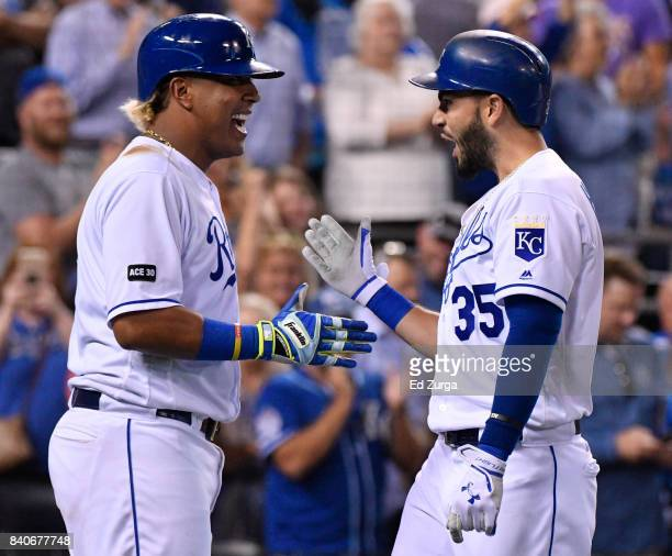 Eric Hosmer of the Kansas City Royals celebrates his threerun home run with Salvador Perez in the seventh inning against the Tampa Bay Rays at...