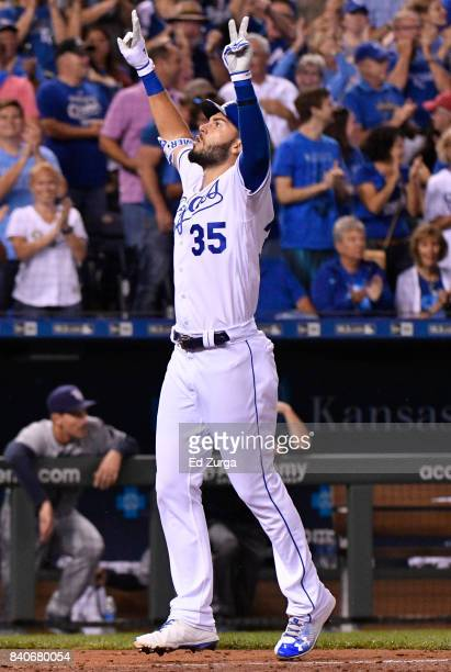 Eric Hosmer of the Kansas City Royals celebrates his threerun home run in the seventh inning against the Tampa Bay Rays at Kauffman Stadium on August...