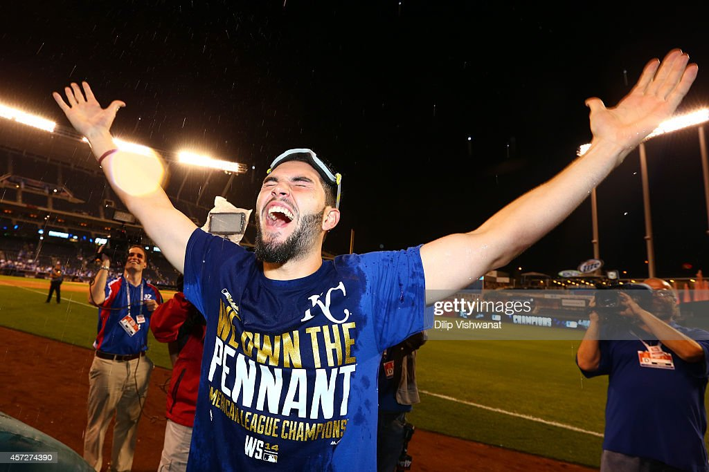 Eric Hosmer #35 of the Kansas City Royals celebrates in after their 2 to 1 win over the Baltimore Orioles to sweep the series in Game Four of the American League Championship Series at Kauffman Stadium on October 15, 2014 in Kansas City, Missouri.