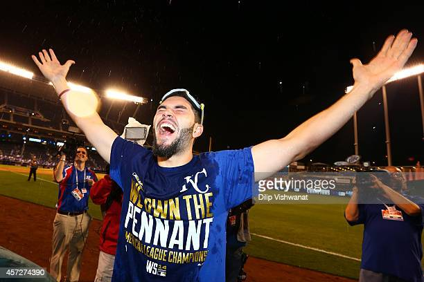 Eric Hosmer of the Kansas City Royals celebrates in after their 2 to 1 win over the Baltimore Orioles to sweep the series in Game Four of the...