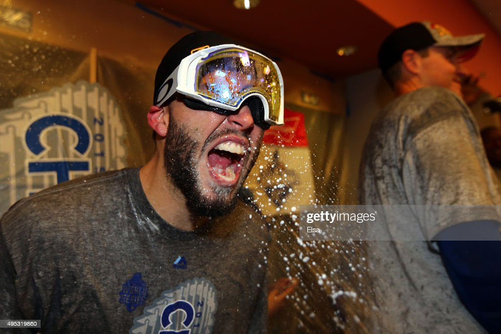 Eric Hosmer #35 of the Kansas City Royals celebrates in the clubhouse after defeating the New York Mets to win Game Five of the 2015 World Series at Citi Field on November 1, 2015 in the Flushing neighborhood of the Queens borough of New York City. The Kansas City Royals defeated the New York Mets with a score of 7 to 2 to win the World Series.