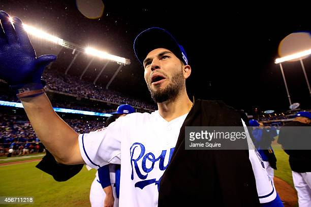 Eric Hosmer of the Kansas City Royals celebrates on the field after defeating the Los Angeles Angels 8-3 in Game Three of the American League...