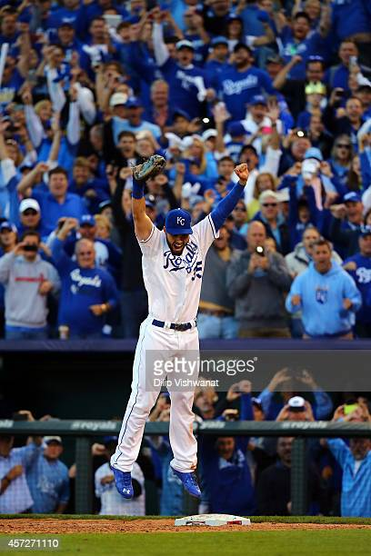 Eric Hosmer of the Kansas City Royals celebrates their 2 to 1 win over the Baltimore Orioles to sweep the series in Game Four of the American League...