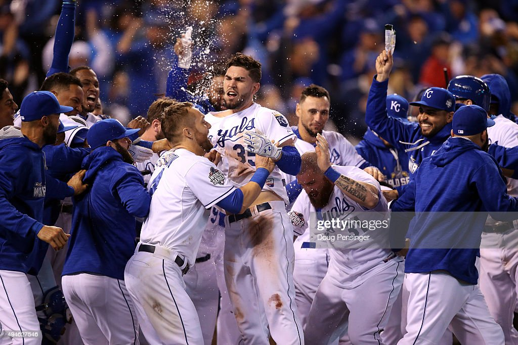Eric Hosmer #35 of the Kansas City Royals celebrates with teammates after defeating the New York Mets 5-4 in Game One of the 2015 World Series at Kauffman Stadium on October 27, 2015 in Kansas City, Missouri.