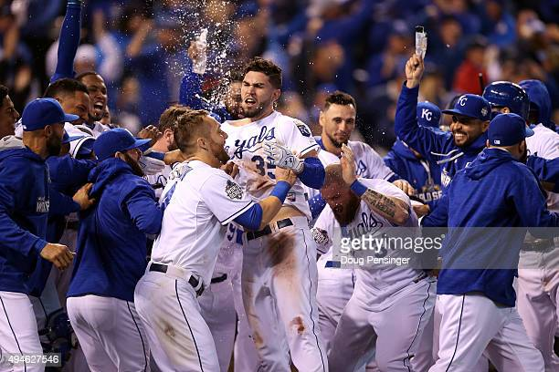 Eric Hosmer of the Kansas City Royals celebrates with teammates after defeating the New York Mets 54 in Game One of the 2015 World Series at Kauffman...