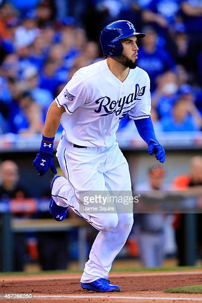Eric Hosmer of the Kansas City Royals hits a grounder into fielder's choice to first base against Miguel Gonzalez of the Baltimore Orioles in the...