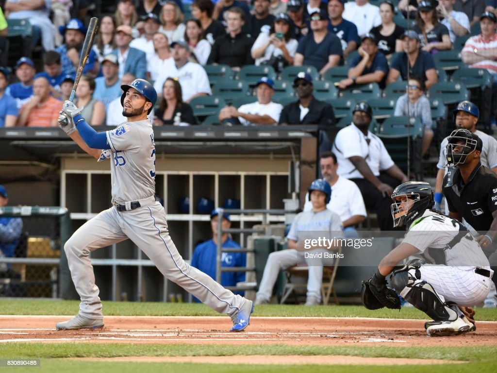 Eric Hosmer #35 of the Kansas City Royals hits a home run against the Chicago White Sox during the first inning on August 12, 2017 at Guaranteed Rate Field in Chicago, Illinois.