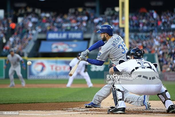 Eric Hosmer of the Kansas City Royals hits a triple to deep center field scoring Alex Gordon during the first inning of the game against the Detroit...