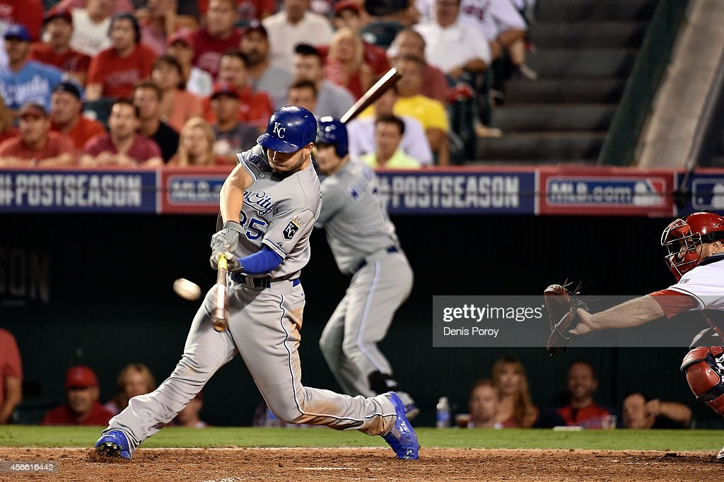 Eric Hosmer #35 of the Kansas City Royals hits a two-run home run in the eleventh inning against the Los Angeles Angels during Game Two of the American League Division Series at Angel Stadium of Anaheim on October 3, 2014 in Anaheim, California.