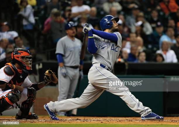 Eric Hosmer of the Kansas City Royals hits an RBI double in the third inning against the Houston Astros at Minute Maid Park on April 15 2014 in...