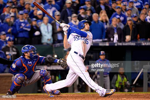 Eric Hosmer of the Kansas City Royals hits the game winning sacrifice fly to defeat the New York Mets in Game 1 of the 2015 World Series at Kauffman...