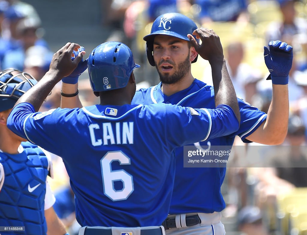 Eric Hosmer #35 of the Kansas City Royals is greeted by Lorenzo Cain #6 of the Kansas City Royals after a two run home run in the fourth inning off Clayton Kershaw #22 of the Los Angeles Dodgers at Dodger Stadium on July 9, 2017 in Los Angeles, California.