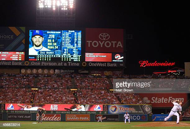 Eric Hosmer of the Kansas City Royals is pictured on the scoreboard as Jered Weaver of the Los Angeles Angels of Anaheim pitches during Game One of...
