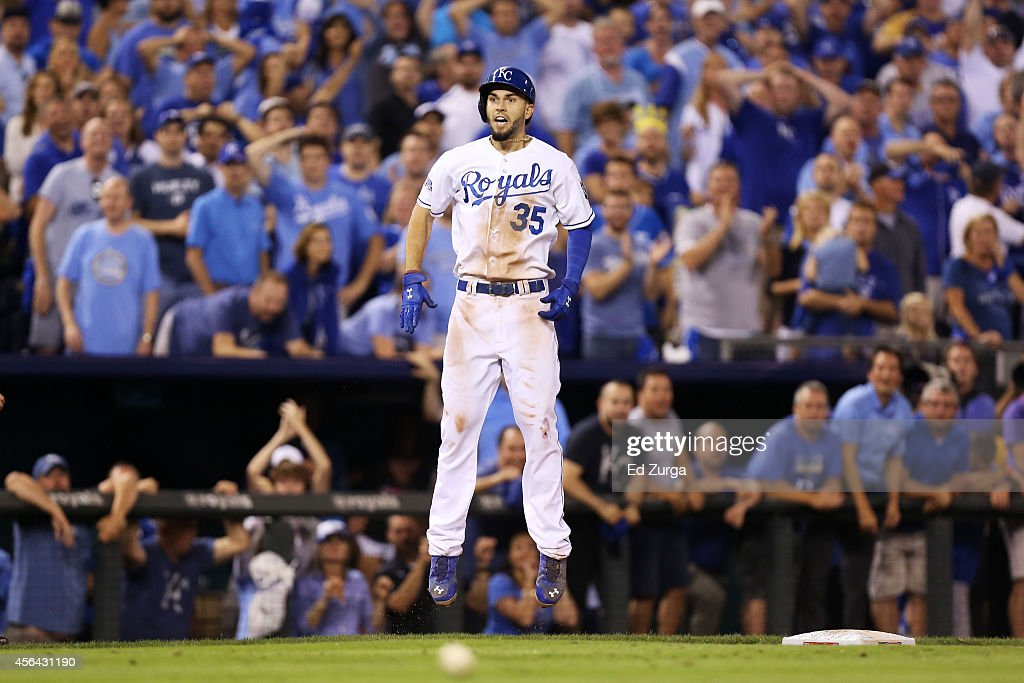 Eric Hosmer #35 of the Kansas City Royals reacts after hitting a triple in the 12th inning against the Oakland Athletics during the American League Wild Card game at Kauffman Stadium on September 30, 2014 in Kansas City, Missouri.