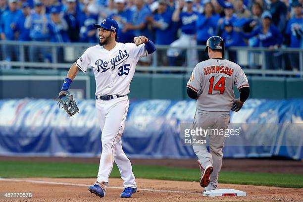 Eric Hosmer of the Kansas City Royals reacts after Kelly Johnson of the Baltimore Orioles grounds out in eighth inning during Game Four of the...