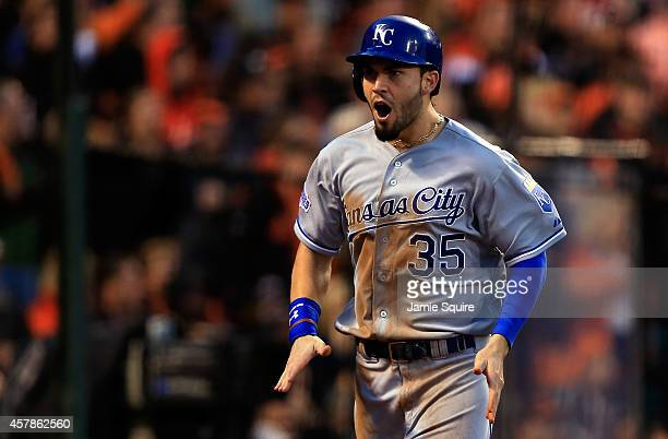 Eric Hosmer of the Kansas City Royals reacts after scoring on a Omar Infante tworun single in the third inning against the San Francisco Giants...