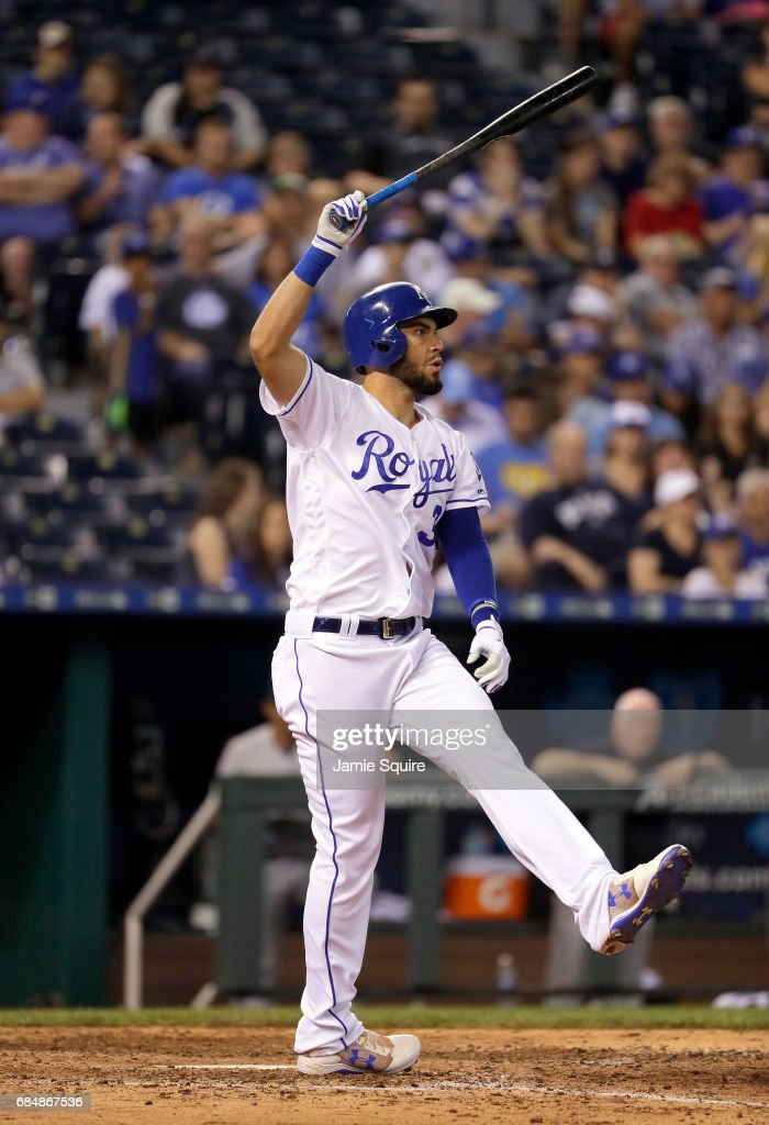 Eric Hosmer #35 of the Kansas City Royals reacts as he strikes out during the 8th inning of the game against the New York Yankees at Kauffman Stadium on May 18, 2017 in Kansas City, Missouri.