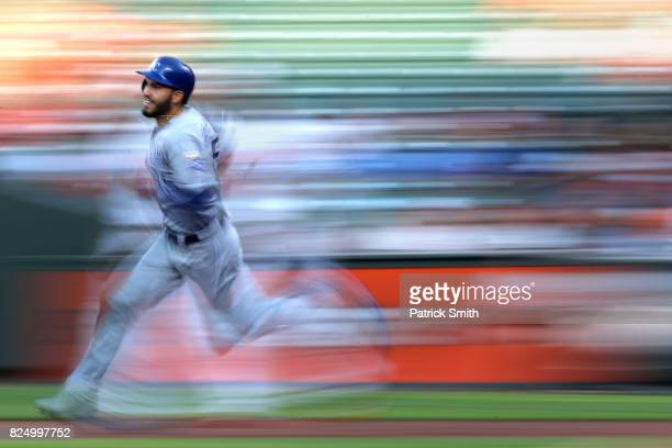 Eric Hosmer of the Kansas City Royals runs the bases after hitting an RBI double against the Baltimore Orioles during the first inning at Oriole Park...