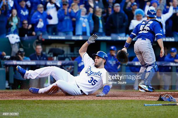 Eric Hosmer of the Kansas City Royals scores a run in the seventh inning against the Toronto Blue Jays in game two of the American League...