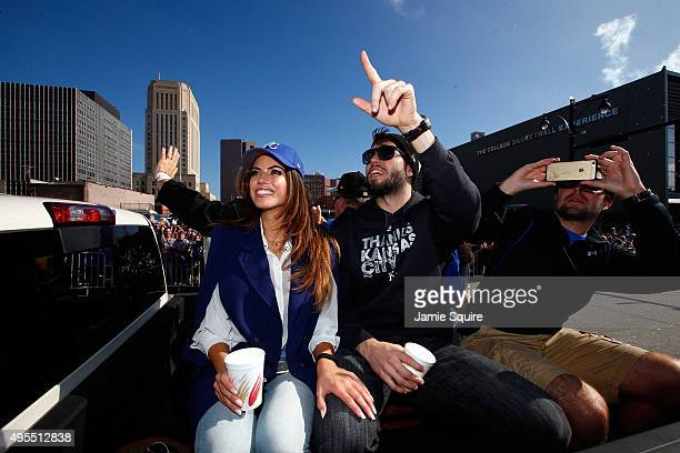 Eric Hosmer of the Kansas City Royals waves to the crowd during a parade and celebration in honor of the Royals' World Series win on November 3 2015...