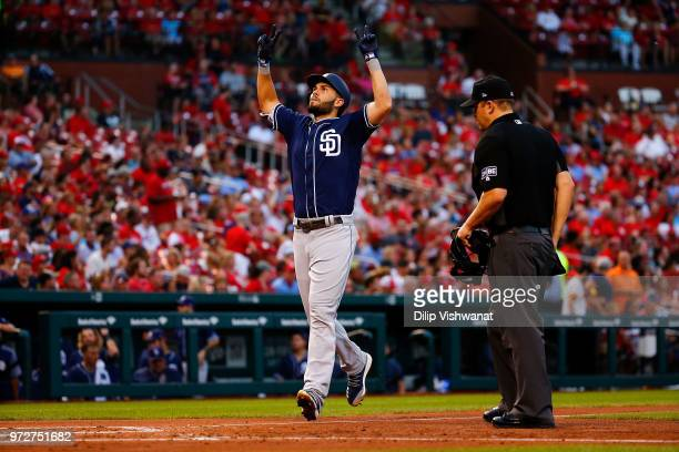 Eric Hosmer of the San Diego Padres celebrates after hitting a home run against the St Louis Cardinals in the fourth inning at Busch Stadium on June...