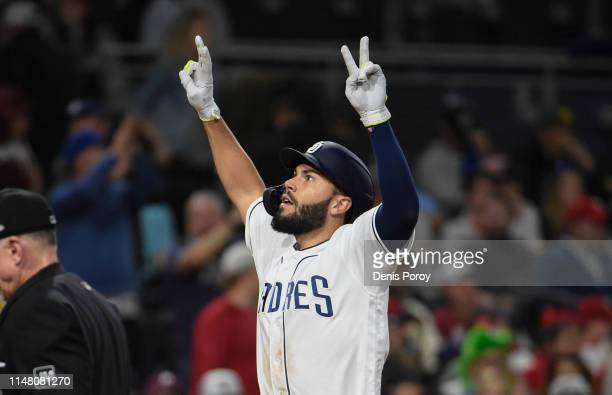Eric Hosmer of the San Diego Padres celebrates after hitting two-run home run during the eighth inning of a baseball game against the Philadelphia...
