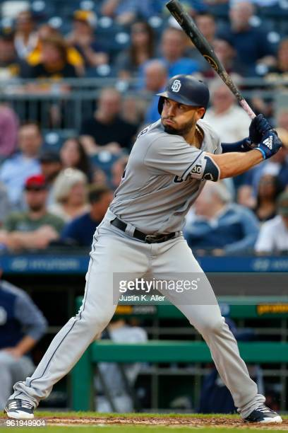 Eric Hosmer of the San Diego Padres in action against the Pittsburgh Pirates at PNC Park on May 17 2018 in Pittsburgh Pennsylvania Eric Hosmer