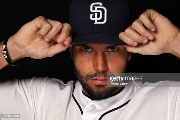 Eric Hosmer of the San Diego Padres poses on photo day during MLB Spring Training at Peoria Sports Complex on February 21, 2018 in Peoria, Arizona.
