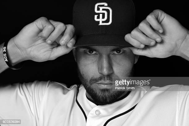 Eric Hosmer of the San Diego Padres poses on photo day during MLB Spring Training at Peoria Sports Complex on February 21 2018 in Peoria Arizona