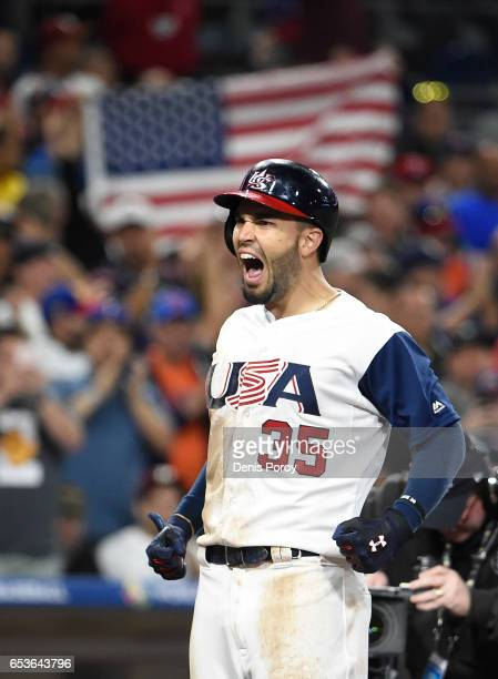 Eric Hosmer of the United States celebrates after hitting a tworun home run in eighth inning of the World Baseball Classic Pool F Game Two between...