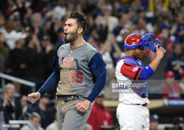 Eric Hosmer of the United States reacts after scoring during the eighth inning of the World Baseball Classic Pool F Game Six between the United...
