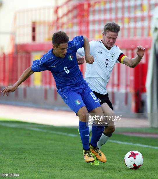 Eric Hottmann of Germany and Gabirele Corbo of Italy compete during the U18 International Friendly match between Germany and Italy at Ammochostos...