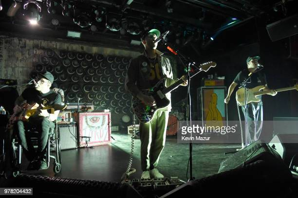 Eric Howk John Gourley and Zachary Carothers of Portugal The Man perform onstage during the Grand ReOpening of Asbury Lanes at Asbury Lanes on June...