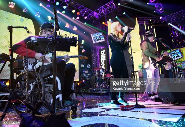 Eric Howk Zoe Manville and John Gourley of 'Portugal The Man' perform onstage at Dick Clark's New Year's Rockin' Eve with Ryan Seacrest 2018 on...