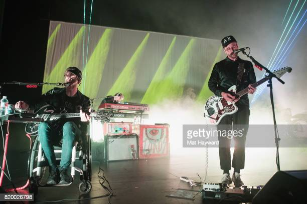 Eric Howke and John Gourley of Portugal The Man perform on stage at Paramount Theatre on July 20 2017 in Seattle Washington