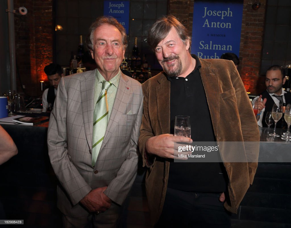 Eric Idle and Stephen Fry attend the launch of Salman Rushdie's new book 'Joseph Anton' on September 14, 2012 in London, England.