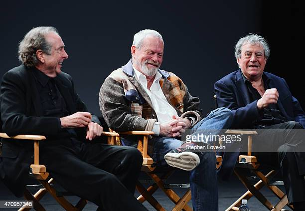 Eric Idle Terry Gilliam and Terry Jones attend the Monty Python Press Conference during the 2015 Tribeca Film Festival at SVA Theater on April 24...