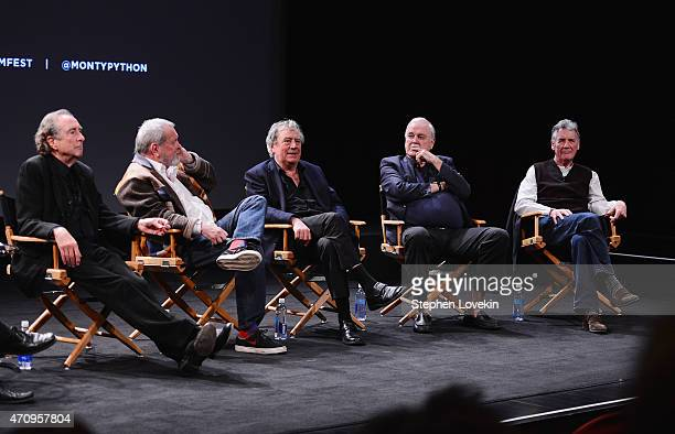 Eric Idle Terry Gilliam Terry Jones John Cleese and Michael Palin attend the Monty Python Press Conference during the 2015 Tribeca Film Festival at...
