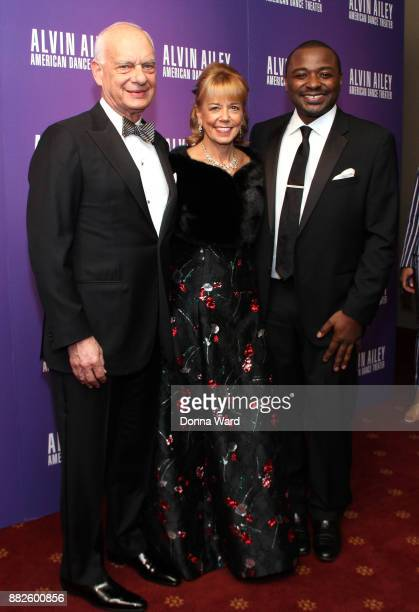 Eric J Wallach Daria L Wallach and Robert Battle attend Alvin Ailey's 2017 Opening Night Gala at New York City Center on November 29 2017 in New York...