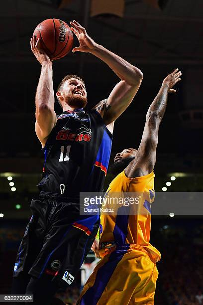 Eric Jacobsen of the Adelaide 36ers drives to the basket during the round 16 NBL match between the Adelaide 36ers and the Sydney Kings at Titanium...