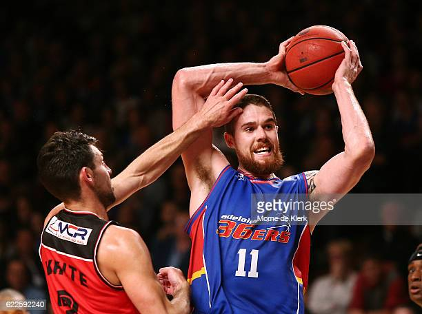 Eric Jacobsen of the Adelaide 36ers passes the ball during the round six NBL match between the Adelaide 36ers and the Illawarra Hawks at the Adelaide...
