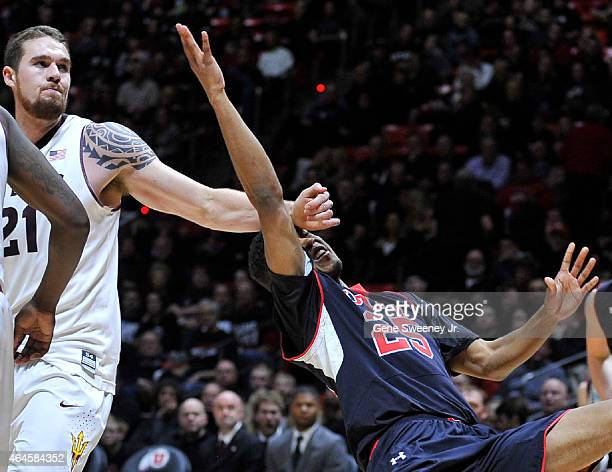 Eric Jacobsen of the Arizona State Sun Devils was called for this second half flagrant foul on Kenneth Ogbe of the Utah Utes on this play at the Jon...