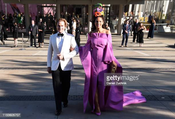 Eric Javits and Veronica Webb are seen outside the 2019 CFDA Fashion Awards at the Brooklyn Museum on June 03 2019 in New York City
