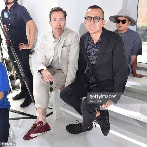 Eric Jennings and Steven Kolb attend the N Hoolywood runway show during New York Fashion Week Men's S/S 2017 at Hudson Mercantile on July 12 2016 in...