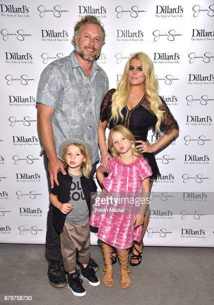 Eric Johnson Ace Knute Johnson Maxwell Drew Johnson and Jessica Simpson attend a spring style event benefitting The Boys and Girls Clubs of Waco TX...