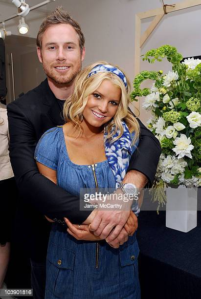 Eric Johnson and Jessica Simpson attend a launch event and press preview for the Spring 2011 Jessica Simpson Collection Show Me Your Blues Jeanswear...