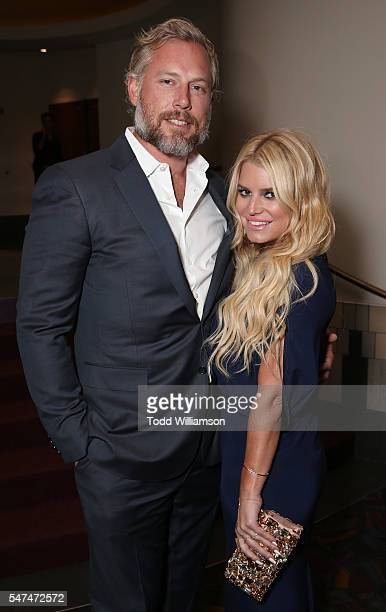 Eric Johnson and Jessica Simpson attend the Gleason Los Angeles Premiere at Regal Cinemas LA Live on July 14 2016 in Los Angeles California