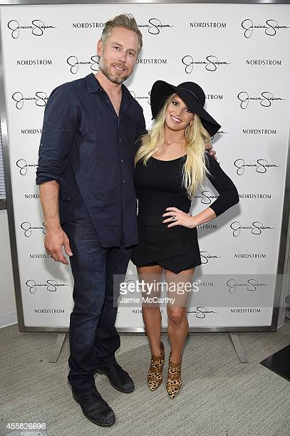Eric Johnson and Jessica Simpson wearing Jessica Simpson Collection attend Jessica Simpson Collection Fashion Show at Nordstrom on September 20 2014...