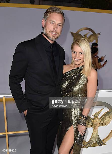 Eric Johnson and singer/songwriter Jessica Simpson attend the premiere of Lionsgate's The Hunger Games Mockingjay Part 1 at Nokia Theatre LA Live on...